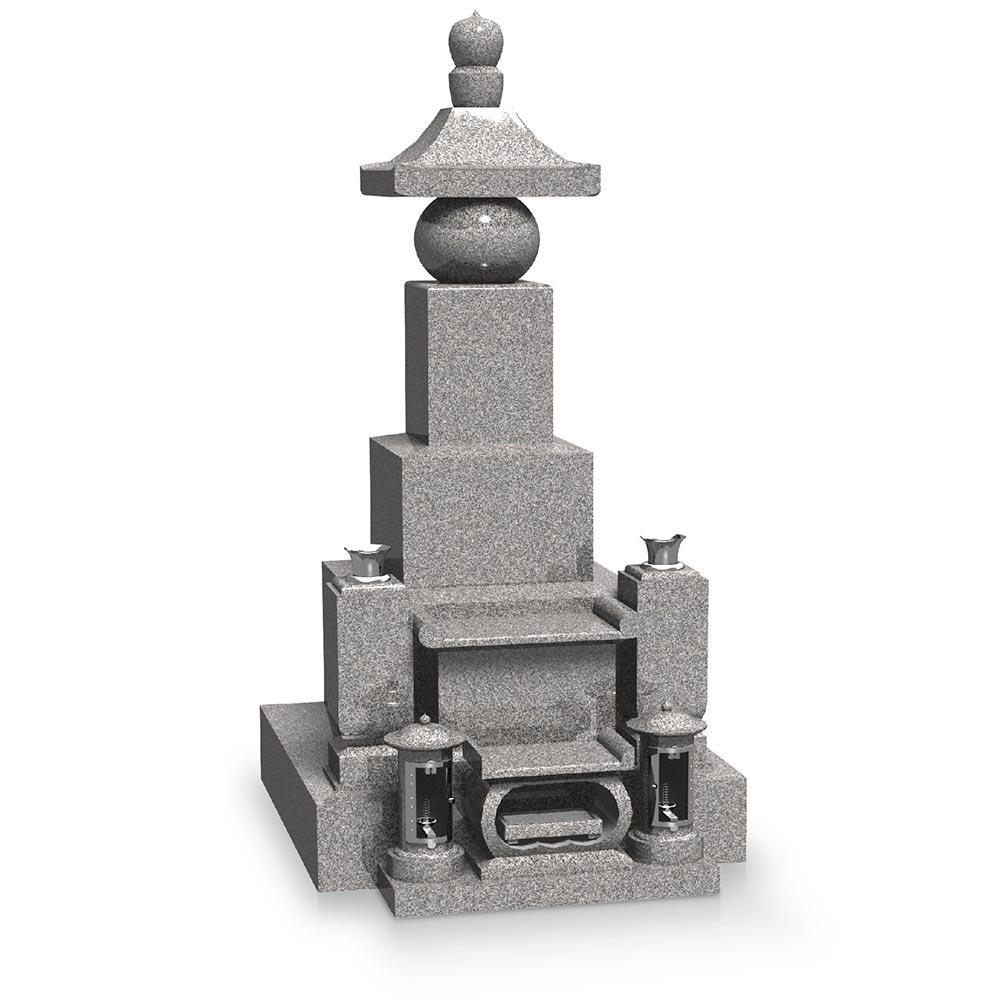 大日堂のお墓/五輪塔三重台 正面
